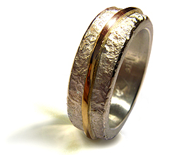 Silver with gold Path Ring - Copyright Kerstin Laibach